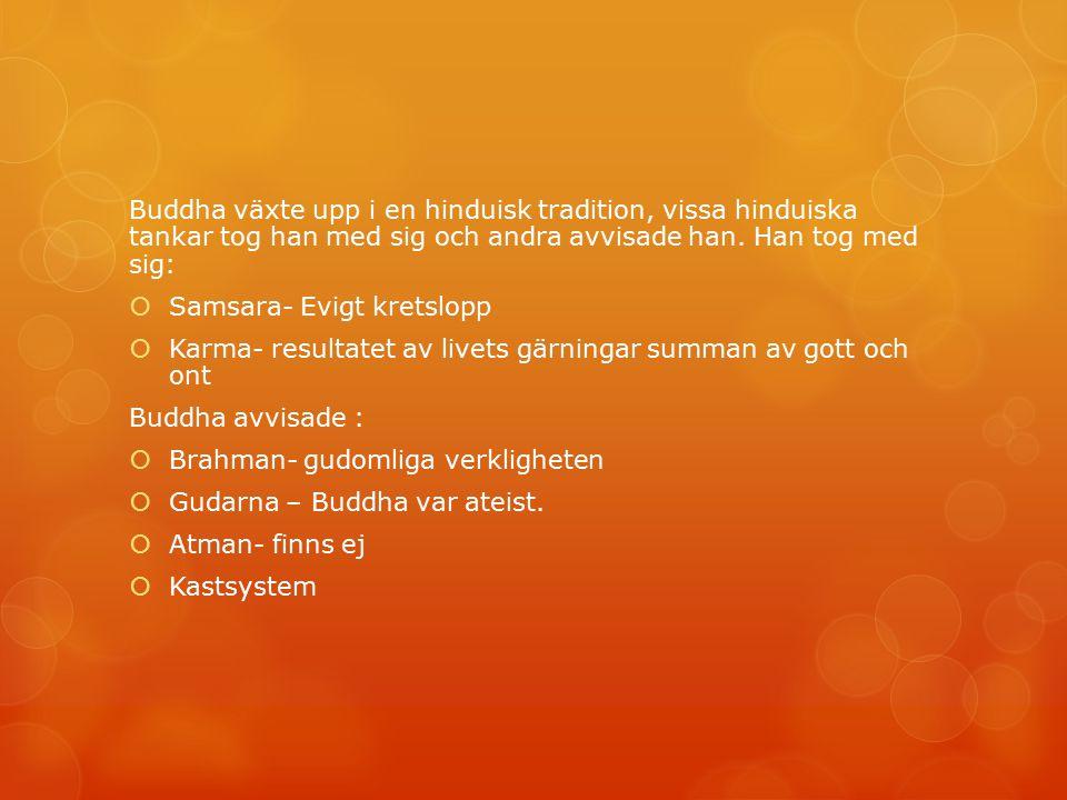 Buddha växte upp i en hinduisk tradition, vissa hinduiska tankar tog han med sig och andra avvisade han. Han tog med sig:  Samsara- Evigt kretslopp 