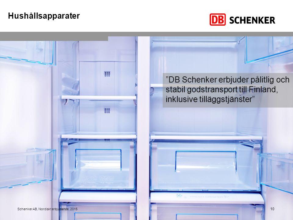 """10 """"DB Schenker erbjuder pålitlig och stabil godstransport till Finland, inklusive tilläggstjänster"""" Schenker AB, Nordiskt erbjudande, 2015 Hushållsap"""