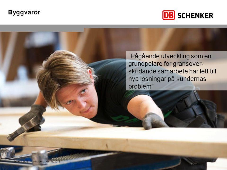 """14 Schenker AB, Nordiskt erbjudande, 2015 """"Pågående utveckling som en grundpelare för gränsöver- skridande samarbete har lett till nya lösningar på ku"""