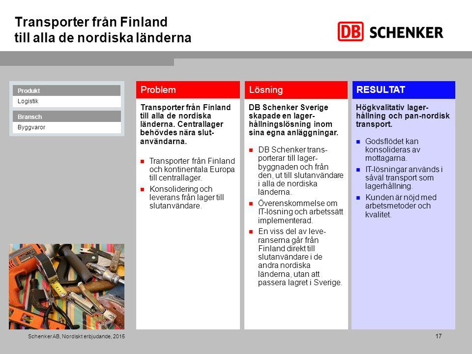 17 Schenker AB, Nordiskt erbjudande, 2015 Transporter från Finland till alla de nordiska länderna RESULTATLösning Problem Transporter från Finland til