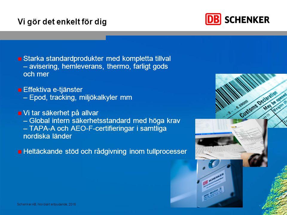 14 Schenker AB, Nordiskt erbjudande, 2015 Pågående utveckling som en grundpelare för gränsöver- skridande samarbete har lett till nya lösningar på kundernas problem Byggvaror