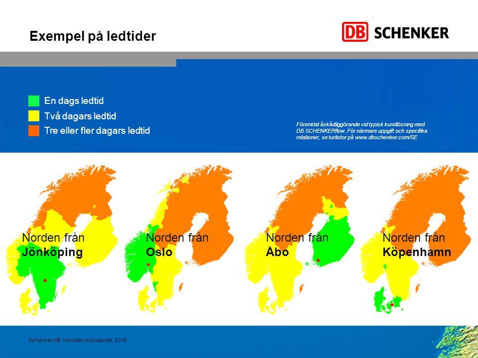 Exempel på ledtider 5 Schenker AB, Nordiskt erbjudande, 2015 Förenklat åskådliggörande vid typisk kundlösning med DB SCHENKERflow. För närmare uppgift