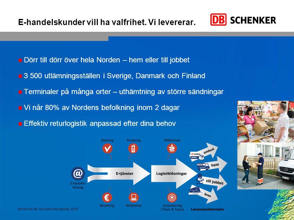 E-handelskunder vill ha valfrihet. Vi levererar. Dörr till dörr över hela Norden – hem eller till jobbet 3 500 utlämningsställen i Sverige, Danmark oc