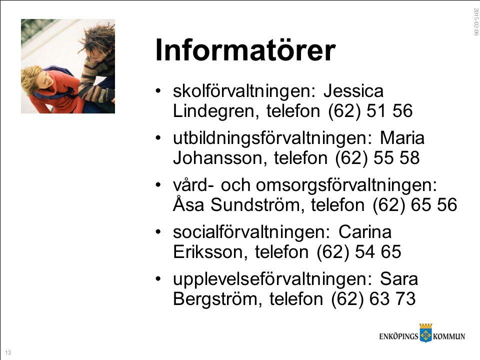 2015-02-06 13 Informatörer skolförvaltningen: Jessica Lindegren, telefon (62) 51 56 utbildningsförvaltningen: Maria Johansson, telefon (62) 55 58 vård- och omsorgsförvaltningen: Åsa Sundström, telefon (62) 65 56 socialförvaltningen: Carina Eriksson, telefon (62) 54 65 upplevelseförvaltningen: Sara Bergström, telefon (62) 63 73