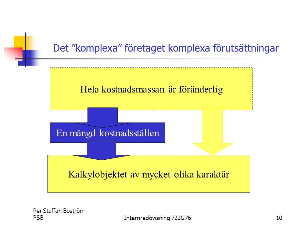 Per Staffan Boström PSBInternredovisning 722G7610 Hela kostnadsmassan är föränderlig Kalkylobjektet av mycket olika karaktär En mängd kostnadsställen Det komplexa företaget komplexa förutsättningar