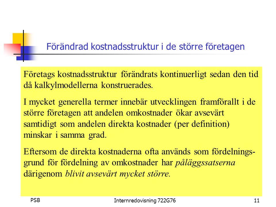 Per Staffan Boström PSBInternredovisning 722G7611 Förändrad kostnadsstruktur i de större företagen Företags kostnadsstruktur förändrats kontinuerligt sedan den tid då kalkylmodellerna konstruerades.