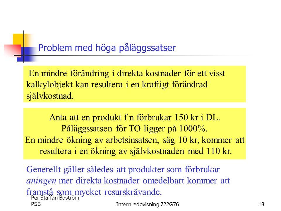 Per Staffan Boström PSBInternredovisning 722G7613 Problem med höga påläggssatser En mindre förändring i direkta kostnader för ett visst kalkylobjekt kan resultera i en kraftigt förändrad självkostnad.