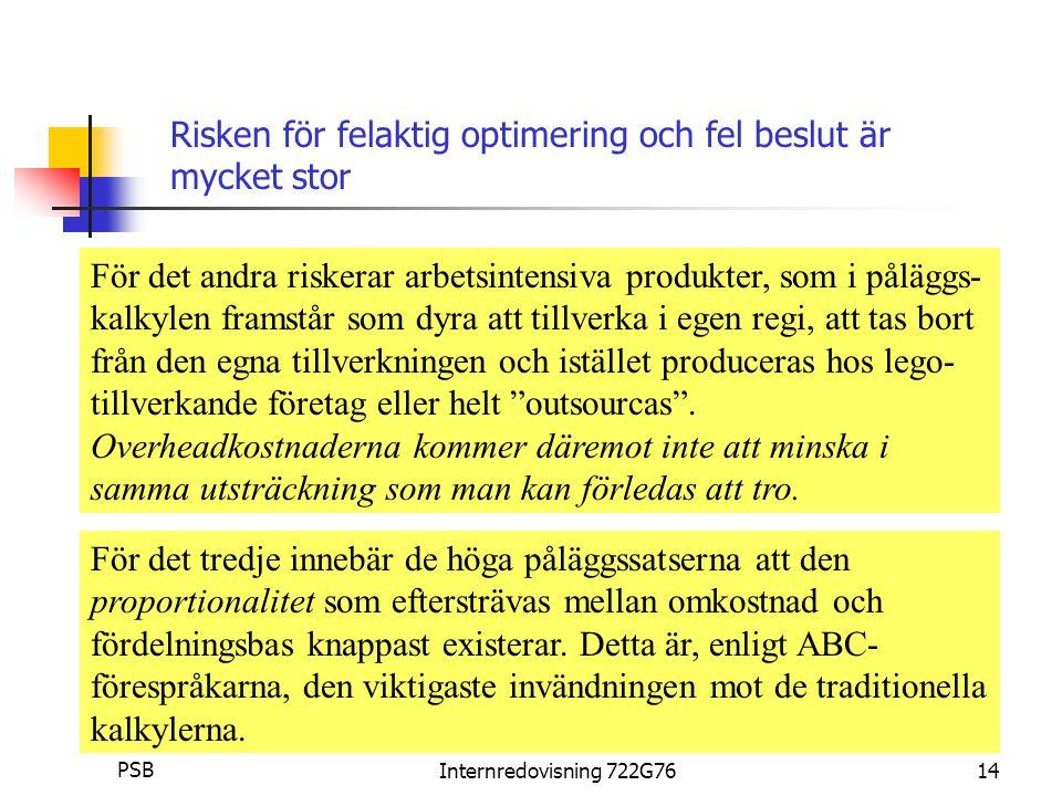 Per Staffan Boström PSBInternredovisning 722G7614 För det andra riskerar arbetsintensiva produkter, som i påläggs- kalkylen framstår som dyra att tillverka i egen regi, att tas bort från den egna tillverkningen och istället produceras hos lego- tillverkande företag eller helt outsourcas .