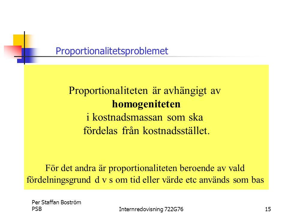 Per Staffan Boström PSBInternredovisning 722G7615 Proportionalitetsproblemet Proportionaliteten är avhängigt av homogeniteten i kostnadsmassan som ska fördelas från kostnadsstället.