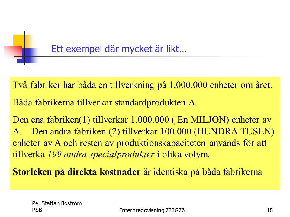Per Staffan Boström PSBInternredovisning 722G7618 Två fabriker har båda en tillverkning på 1.000.000 enheter om året.