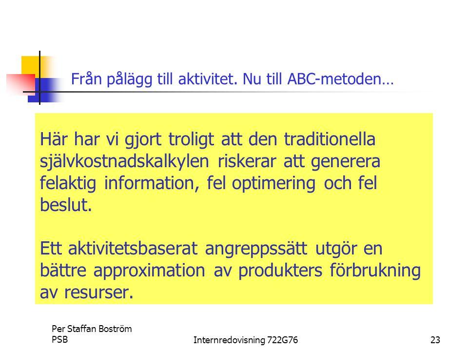 Per Staffan Boström PSBInternredovisning 722G7623 Här har vi gjort troligt att den traditionella självkostnadskalkylen riskerar att generera felaktig information, fel optimering och fel beslut.