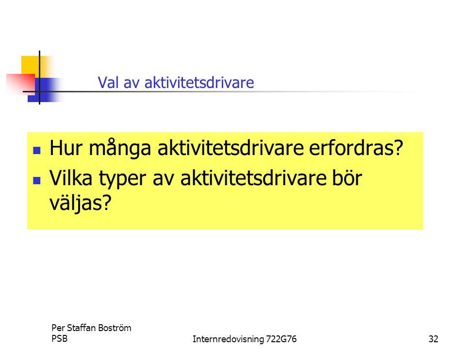 Per Staffan Boström PSBInternredovisning 722G7632 Val av aktivitetsdrivare Hur många aktivitetsdrivare erfordras.