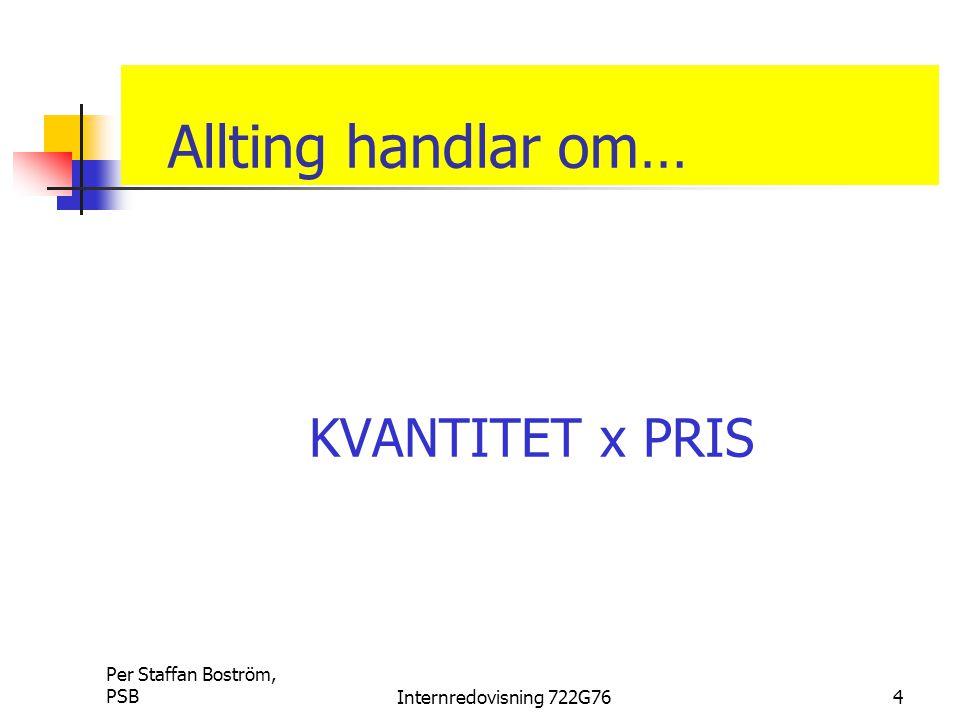Per Staffan Boström, PSBInternredovisning 722G764 Allting handlar om… KVANTITET x PRIS