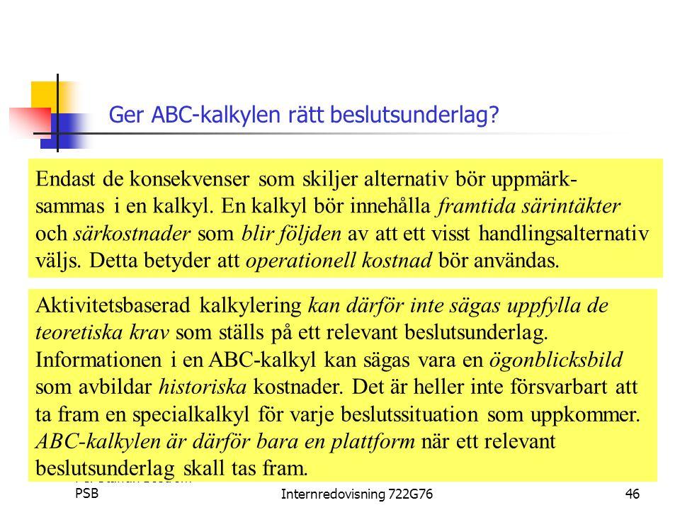 Per Staffan Boström PSBInternredovisning 722G7646 Ger ABC-kalkylen rätt beslutsunderlag.