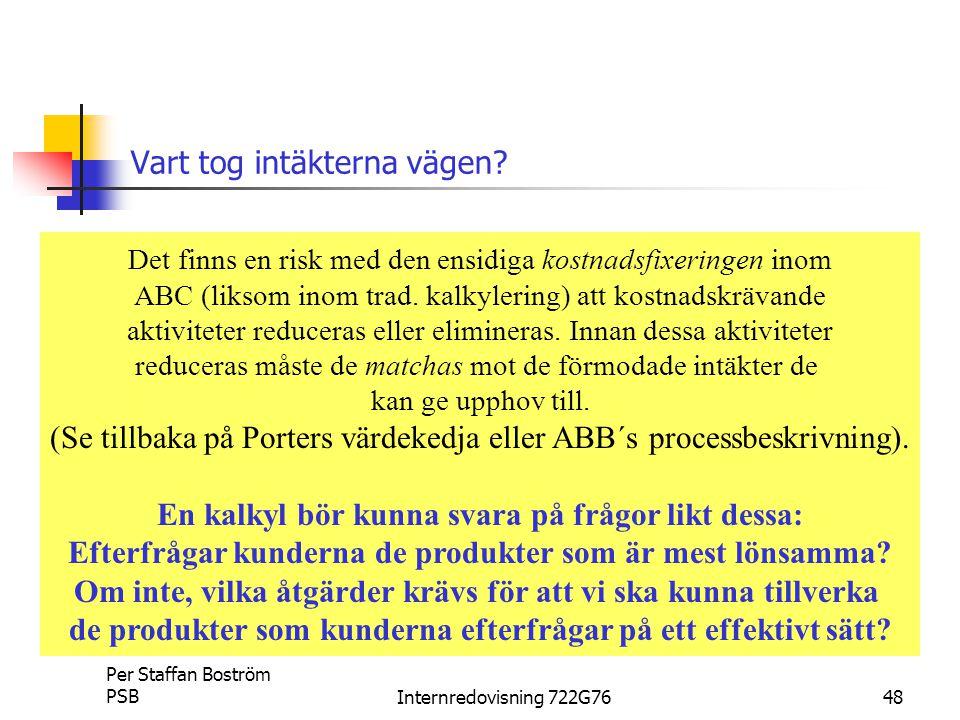 Per Staffan Boström PSBInternredovisning 722G7648 Vart tog intäkterna vägen.