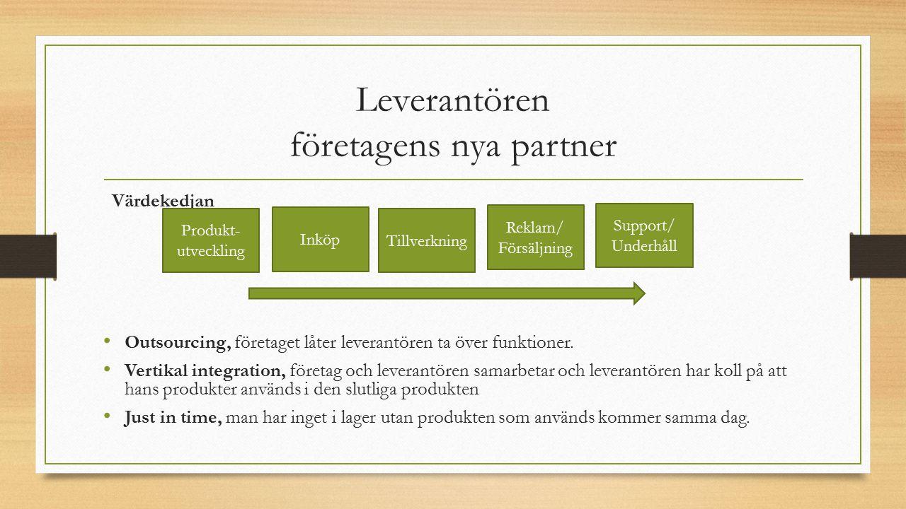 Leverantören företagens nya partner Värdekedjan Outsourcing, företaget låter leverantören ta över funktioner. Vertikal integration, företag och levera