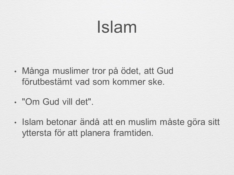 Islam Många muslimer tror på ödet, att Gud förutbestämt vad som kommer ske.