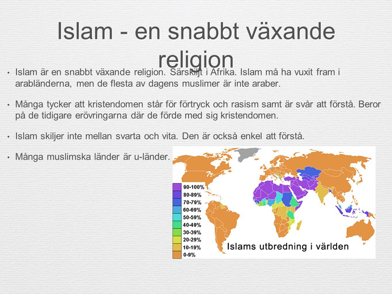 Islam - en snabbt växande religion Islam är en snabbt växande religion. Särskiljt i Afrika. Islam må ha vuxit fram i arabländerna, men de flesta av da