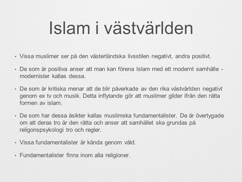 Islam i västvärlden Vissa muslimer ser på den västerländska livsstilen negativt, andra positivt. De som är positiva anser att man kan förena Islam med