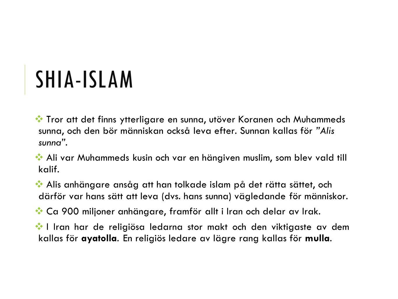 """SHIA-ISLAM ❖ Tror att det finns ytterligare en sunna, utöver Koranen och Muhammeds sunna, och den bör människan också leva efter. Sunnan kallas för """"A"""