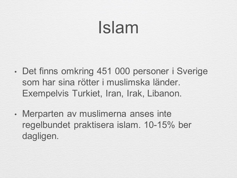 Islam Det finns omkring 451 000 personer i Sverige som har sina rötter i muslimska länder. Exempelvis Turkiet, Iran, Irak, Libanon. Merparten av musli