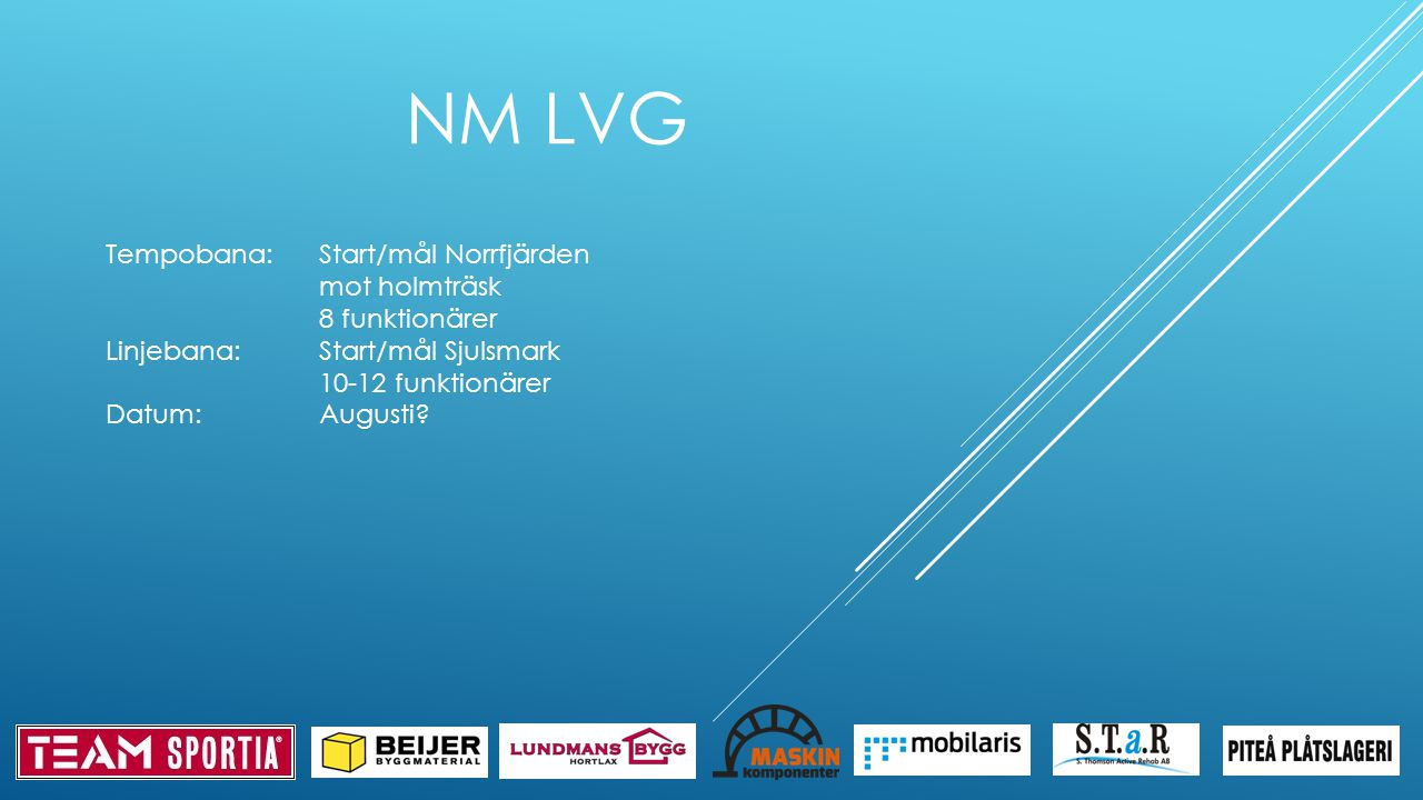 NM LVG Tempobana:Start/mål Norrfjärden mot holmträsk 8 funktionärer Linjebana:Start/mål Sjulsmark 10-12 funktionärer Datum:Augusti