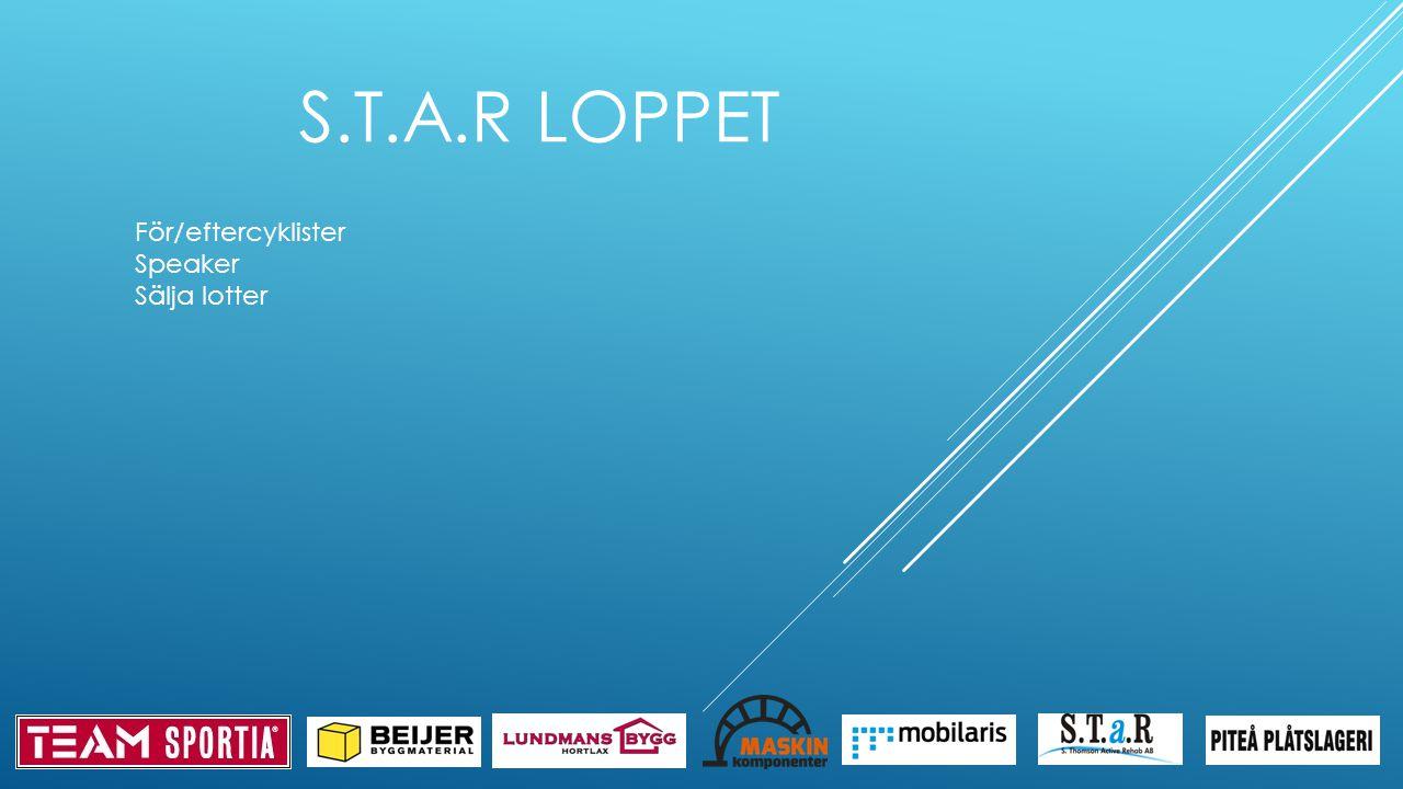 S.T.A.R LOPPET För/eftercyklister Speaker Sälja lotter