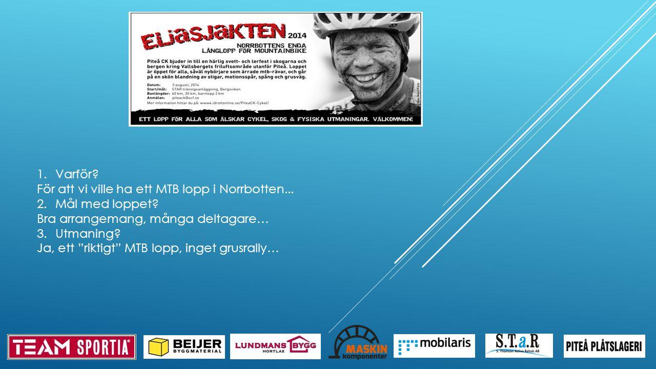1.Varför. För att vi ville ha ett MTB lopp i Norrbotten...