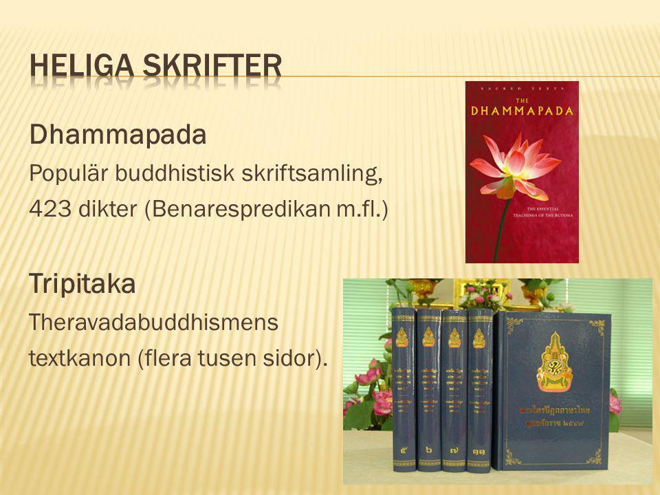 Dhammapada Populär buddhistisk skriftsamling, 423 dikter (Benarespredikan m.fl.) Tripitaka Theravadabuddhismens textkanon (flera tusen sidor).