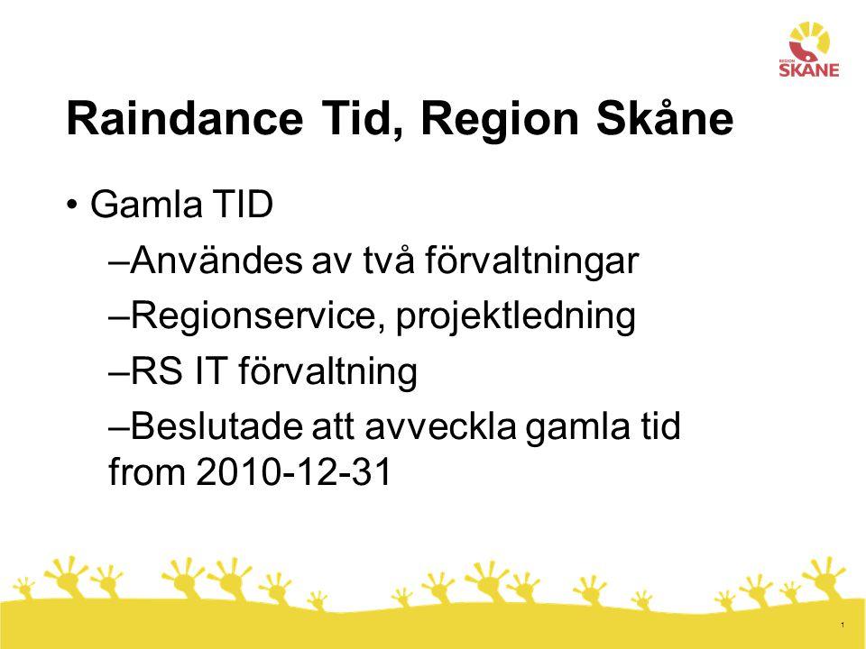 1 Raindance Tid, Region Skåne Gamla TID –Användes av två förvaltningar –Regionservice, projektledning –RS IT förvaltning –Beslutade att avveckla gamla tid from 2010-12-31