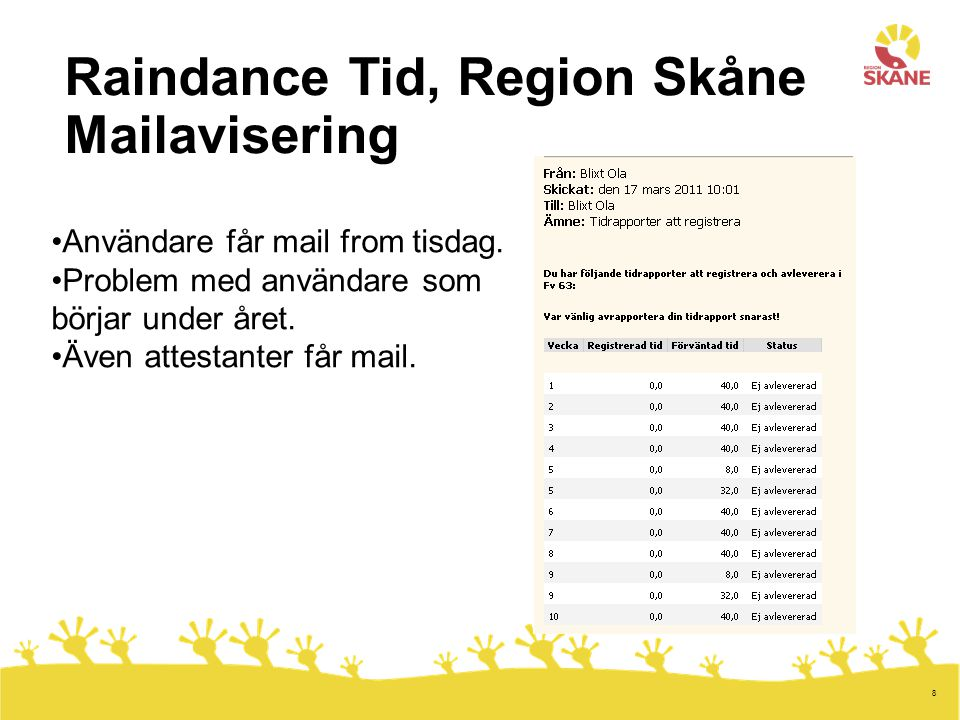 8 Raindance Tid, Region Skåne Mailavisering Användare får mail from tisdag. Problem med användare som börjar under året. Även attestanter får mail.