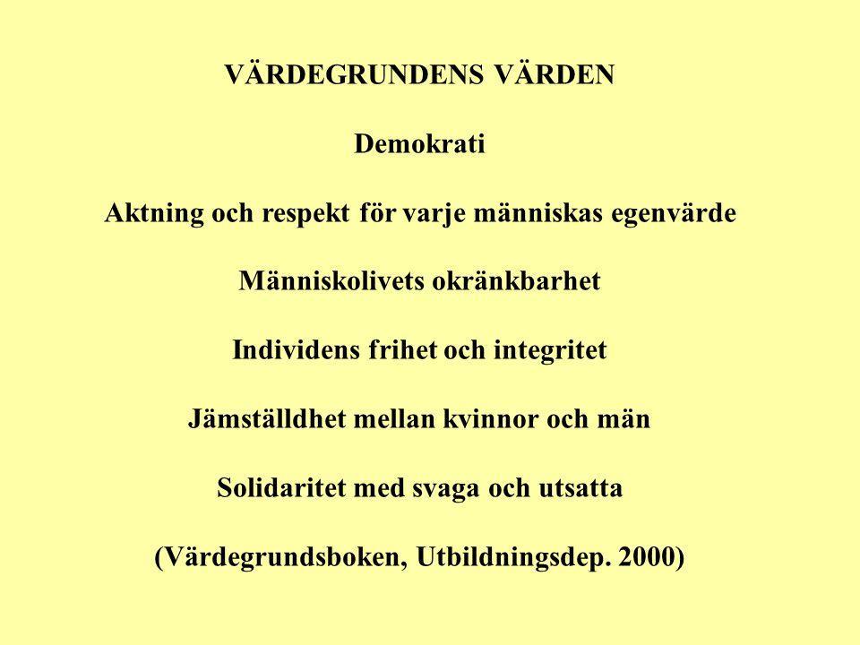 VÄRDEGRUNDENS VÄRDEN Demokrati Aktning och respekt för varje människas egenvärde Människolivets okränkbarhet Individens frihet och integritet Jämställdhet mellan kvinnor och män Solidaritet med svaga och utsatta (Värdegrundsboken, Utbildningsdep.