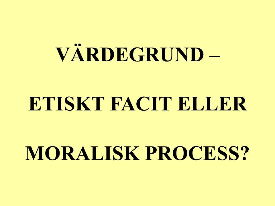 VÄRDEGRUND – ETISKT FACIT ELLER MORALISK PROCESS
