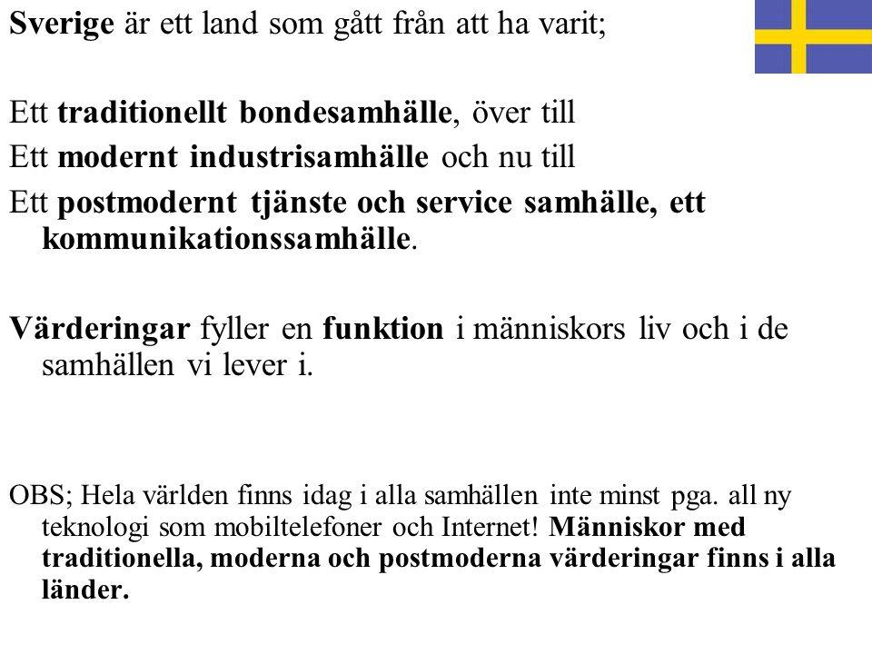 Sverige är ett land som gått från att ha varit; Ett traditionellt bondesamhälle, över till Ett modernt industrisamhälle och nu till Ett postmodernt tjänste och service samhälle, ett kommunikationssamhälle.