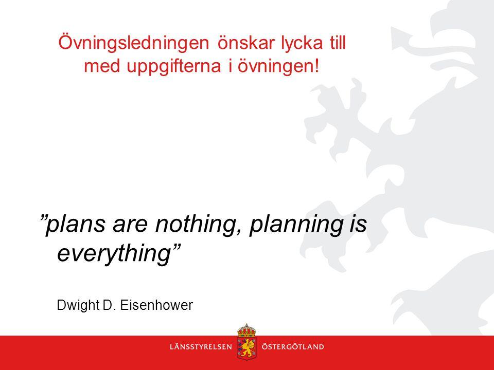 """Övningsledningen önskar lycka till med uppgifterna i övningen! """"plans are nothing, planning is everything"""" Dwight D. Eisenhower"""