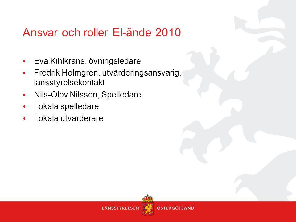 Ansvar och roller El-ände 2010 Eva Kihlkrans, övningsledare Fredrik Holmgren, utvärderingsansvarig, länsstyrelsekontakt Nils-Olov Nilsson, Spelledare Lokala spelledare Lokala utvärderare