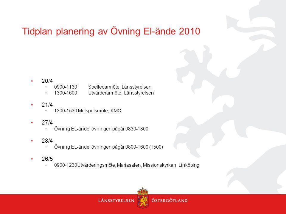 Tidplan planering av Övning El-ände 2010 20/4 0900-1130Spelledarmöte, Länsstyrelsen 1300-1600Utvärderarmöte, Länsstyrelsen 21/4 1300-1530 Motspelsmöte