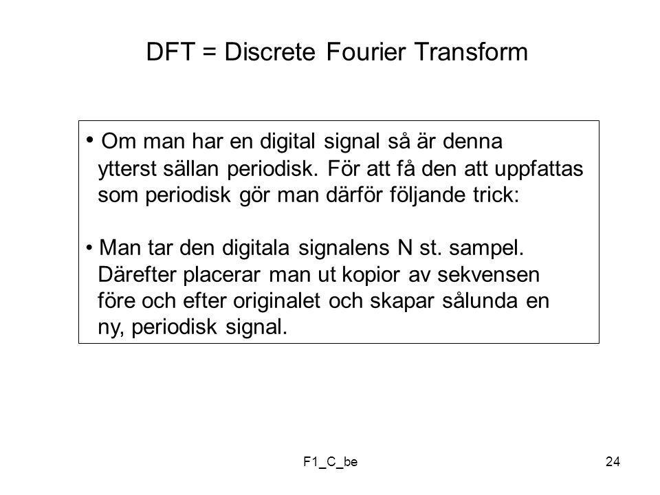 F1_C_be24 DFT = Discrete Fourier Transform Om man har en digital signal så är denna ytterst sällan periodisk.
