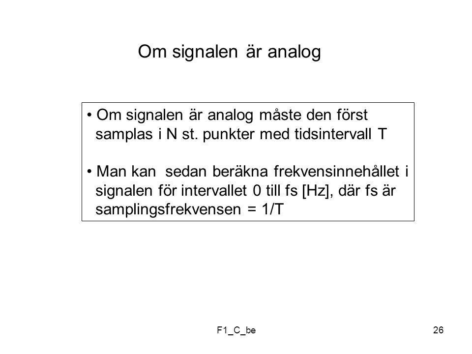 F1_C_be26 Om signalen är analog Om signalen är analog måste den först samplas i N st.