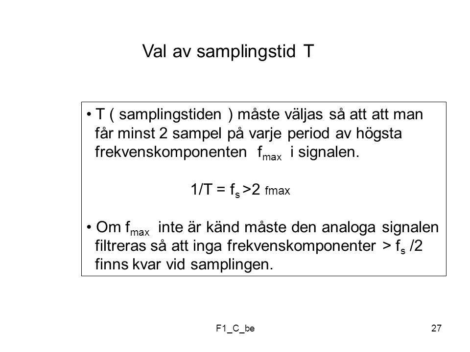 F1_C_be27 Val av samplingstid T T ( samplingstiden ) måste väljas så att att man får minst 2 sampel på varje period av högsta frekvenskomponenten f max i signalen.