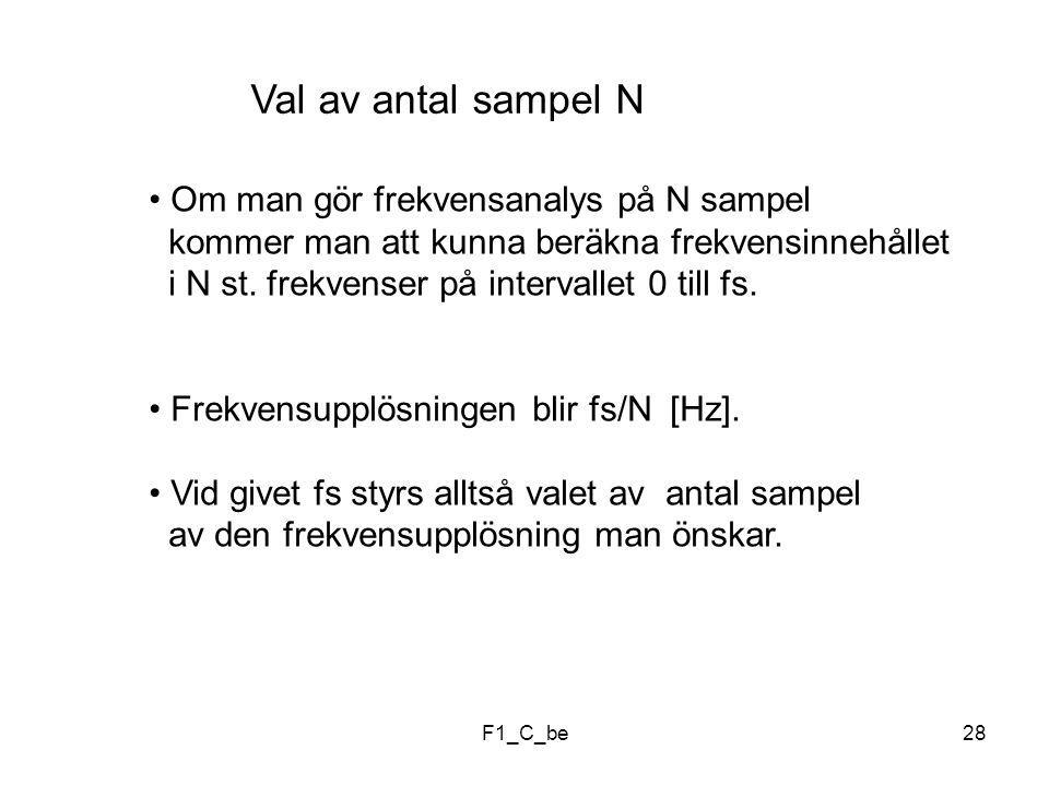 F1_C_be28 Val av antal sampel N Om man gör frekvensanalys på N sampel kommer man att kunna beräkna frekvensinnehållet i N st.