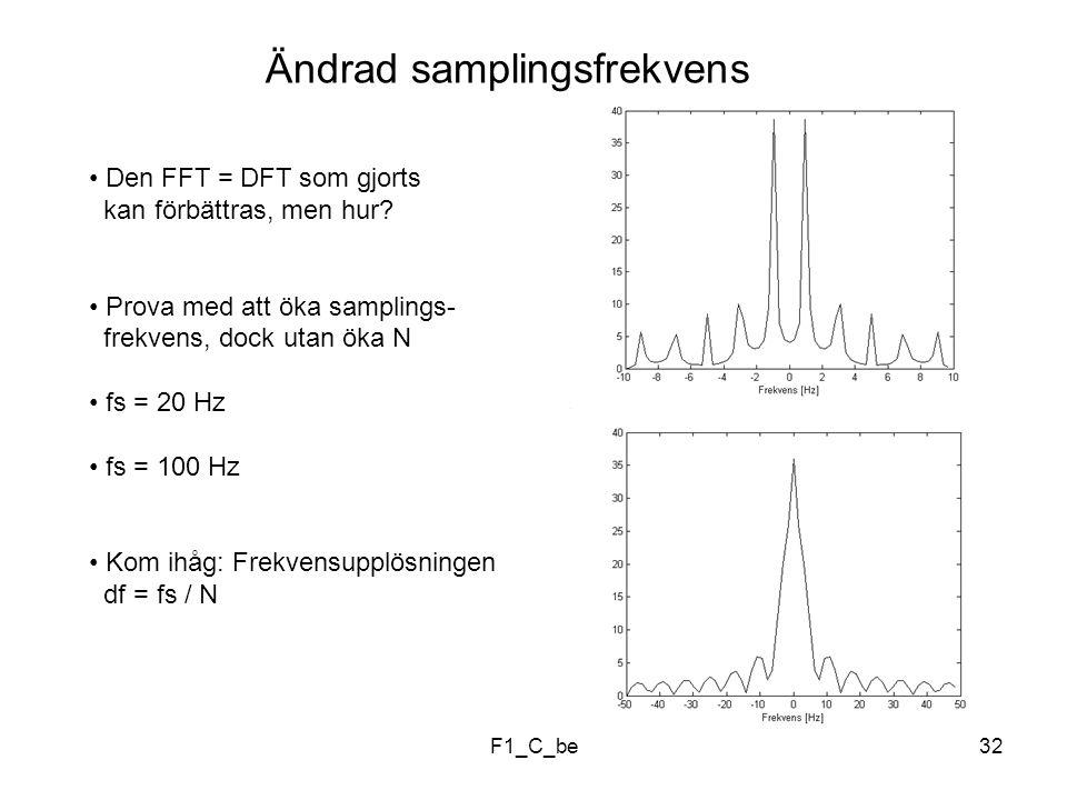 F1_C_be32 Ändrad samplingsfrekvens Den FFT = DFT som gjorts kan förbättras, men hur.