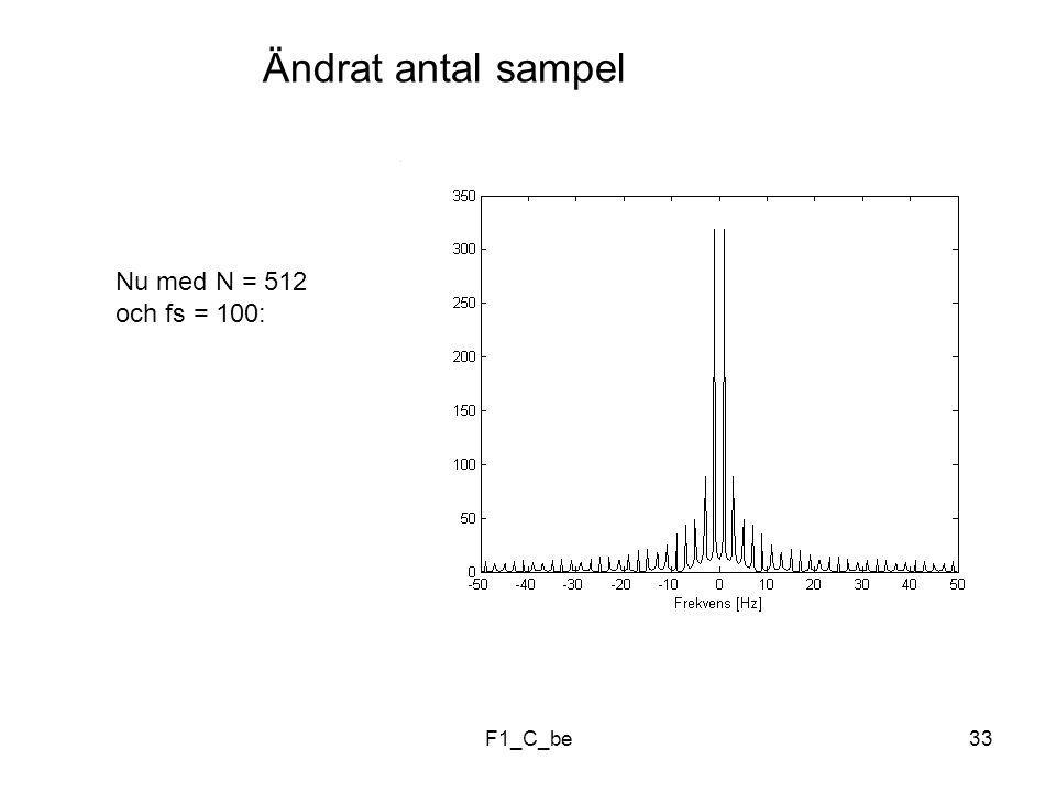 F1_C_be33 Ändrat antal sampel Nu med N = 512 och fs = 100: