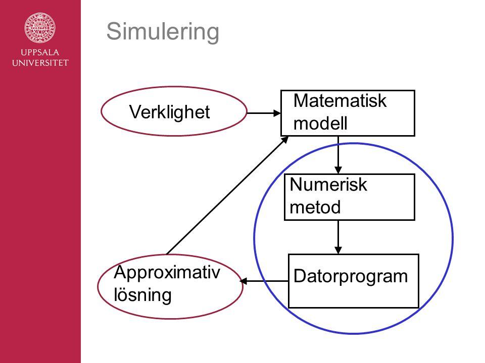 Simulering Verklighet Matematisk modell Numerisk metod Datorprogram Approximativ lösning
