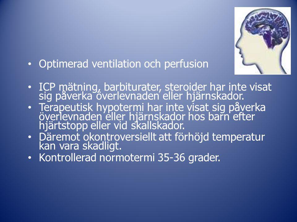 Optimerad ventilation och perfusion ICP mätning, barbiturater, steroider har inte visat sig påverka överlevnaden eller hjärnskador. Terapeutisk hypote