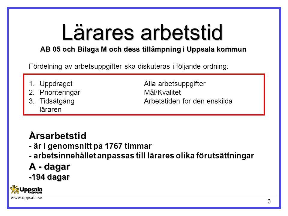 3 Lärares arbetstid AB 05 och Bilaga M och dess tillämpning i Uppsala kommun Årsarbetstid - är i genomsnitt på 1767 timmar - arbetsinnehållet anpassas