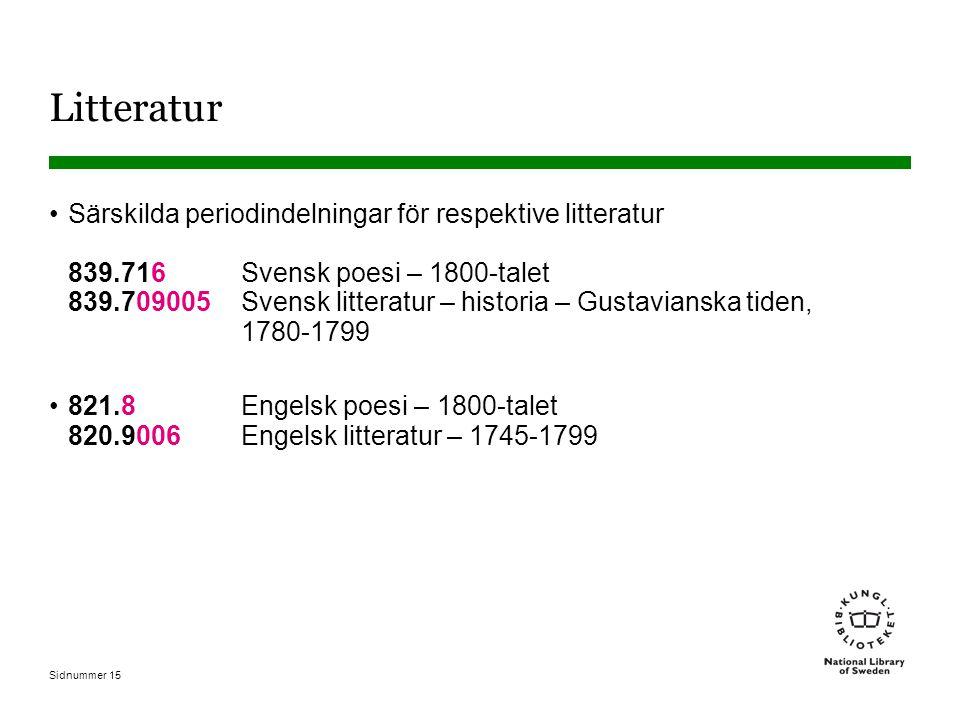 Sidnummer 15 Litteratur Särskilda periodindelningar för respektive litteratur 839.716 Svensk poesi – 1800-talet 839.709005 Svensk litteratur – historia – Gustavianska tiden, 1780-1799 821.8 Engelsk poesi – 1800-talet 820.9006 Engelsk litteratur – 1745-1799