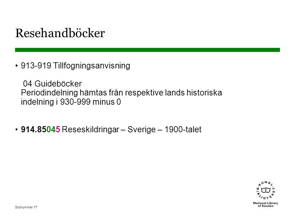 Sidnummer 17 Resehandböcker 913-919 Tillfogningsanvisning 04 Guideböcker Periodindelning hämtas från respektive lands historiska indelning i 930-999 minus 0 914.85045 Reseskildringar – Sverige – 1900-talet