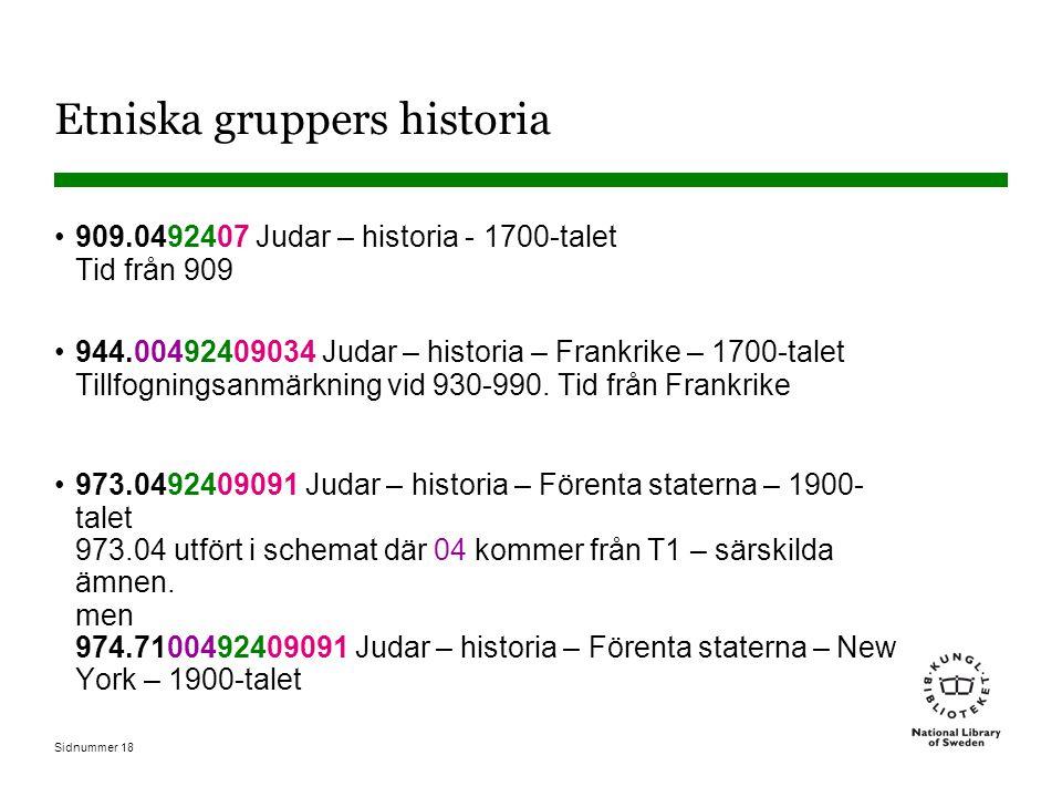 Sidnummer 18 Etniska gruppers historia 909.0492407 Judar – historia - 1700-talet Tid från 909 944.00492409034 Judar – historia – Frankrike – 1700-talet Tillfogningsanmärkning vid 930-990.