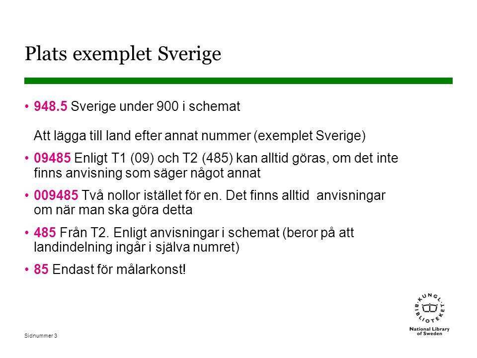 Sidnummer 4 Olika delar av Sverige 948.5 Sverige – historia Tänk på att Götaland, Svealand och Norrland har egna nummer liksom orter i dessa delar 948.6 Götaland 948.7 Svealand 948.8Norrland